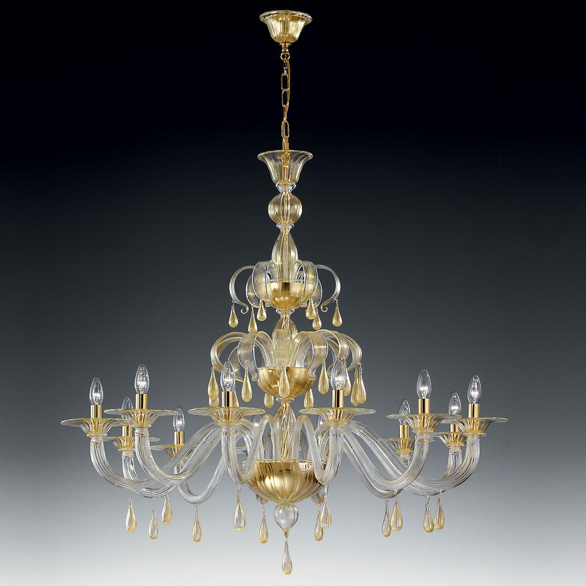 """Olivia"" Murano glas Kronleuchter - 12 flammig - gold"