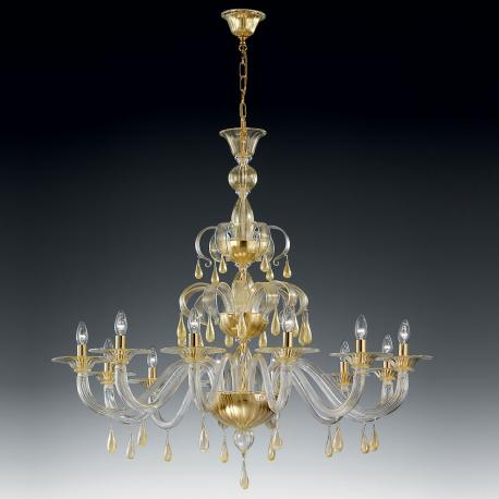 """Olivia"" Murano glass chandelier - 12 lights - gold"