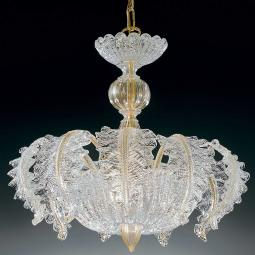 """Elise"" Murano glass chandelier - 3 lights - transparent and gold"