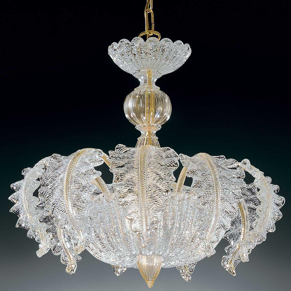 """Elise"" lampara de araña de Murano - 3 luces - transparente y oro"