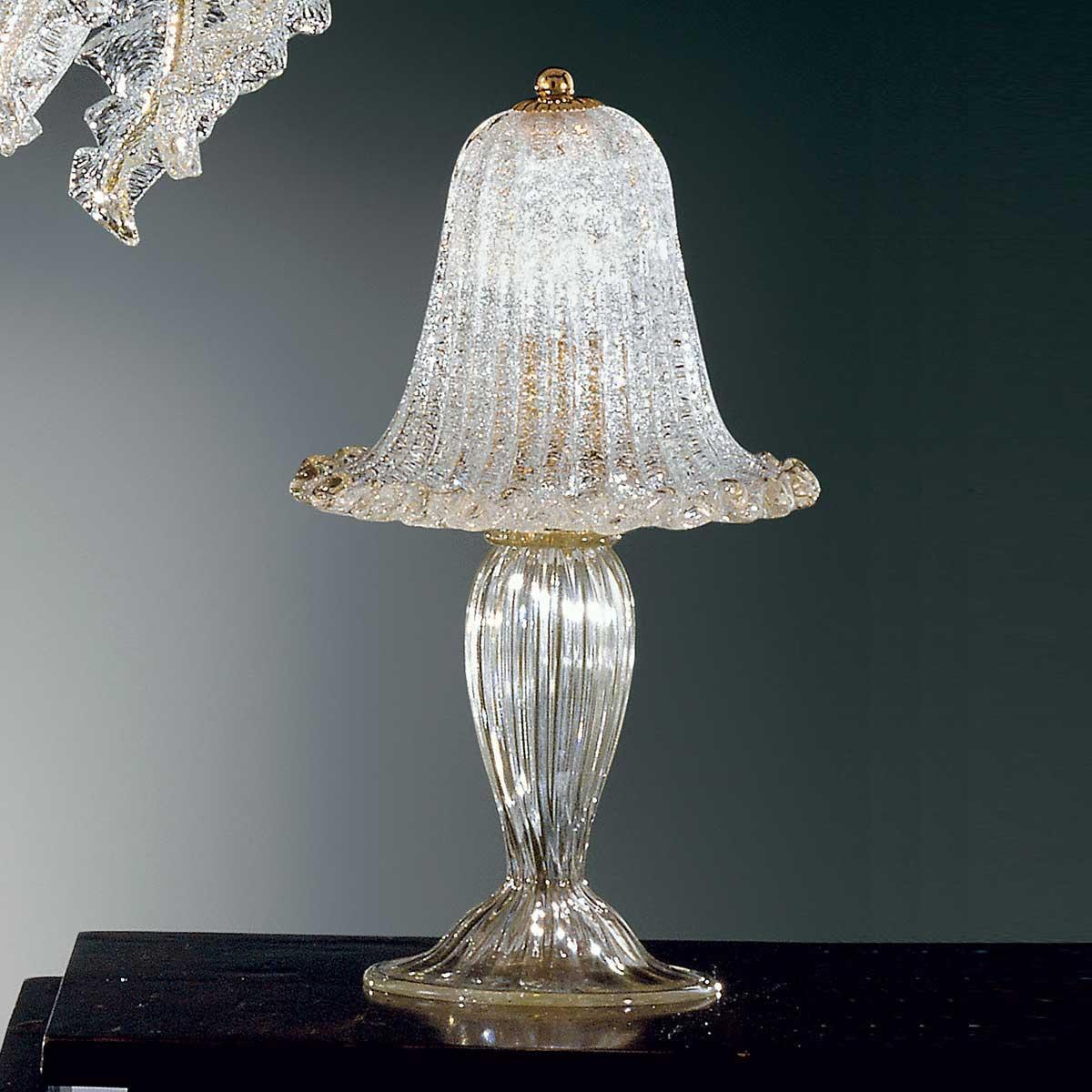 """""""Elise"""" lampe de chevet en verre de Murano - 1 lumière - transparent et or"""
