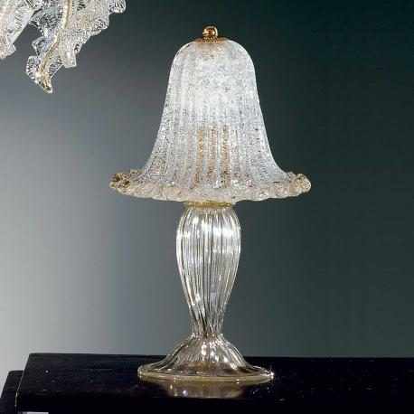 """Elise"" Murano glass bedside lamp - 1 light - transparent and gold"