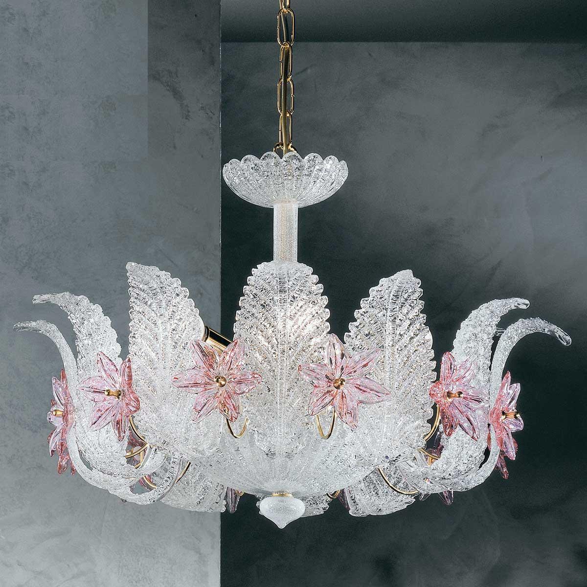 """""""Fiordaliso"""" lustre en cristal de Murano - 4 lumières - transparent et rose"""