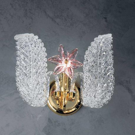 """""""Fiordaliso"""" Murano glass sconce - 1 light - transparent and pink"""