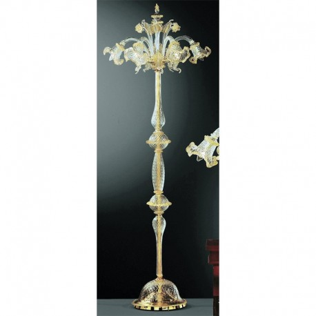 Canal Grande 5 lights Murano floor lamp transparent gold color
