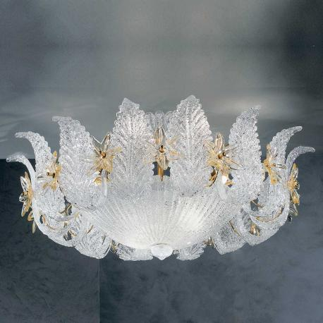 """Fiordaliso"" Murano glass ceiling light - 9 lights - transparent and amber"
