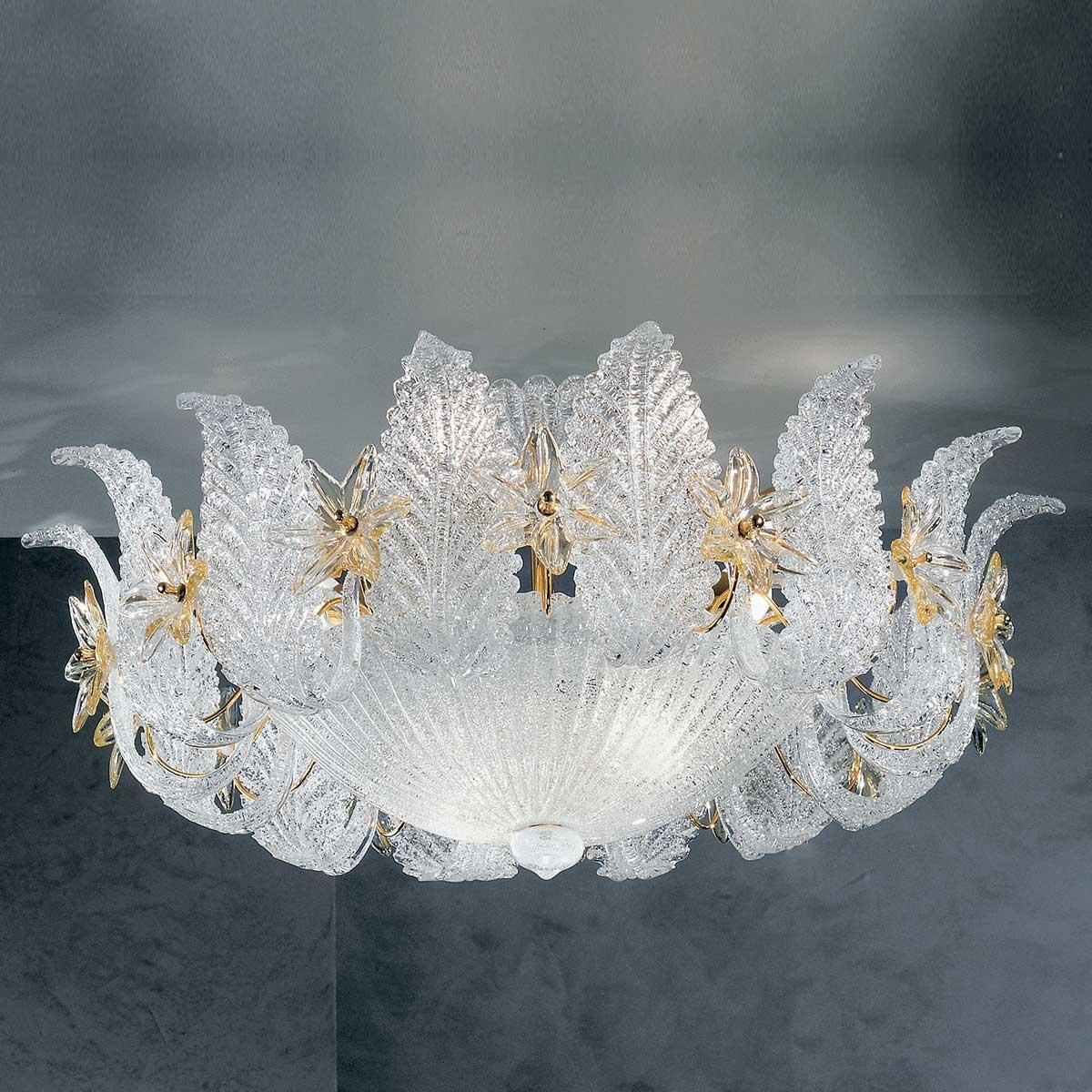 """""""Fiordaliso"""" plafonnier en verre de Murano - 9 lumières - transparent et ambre"""