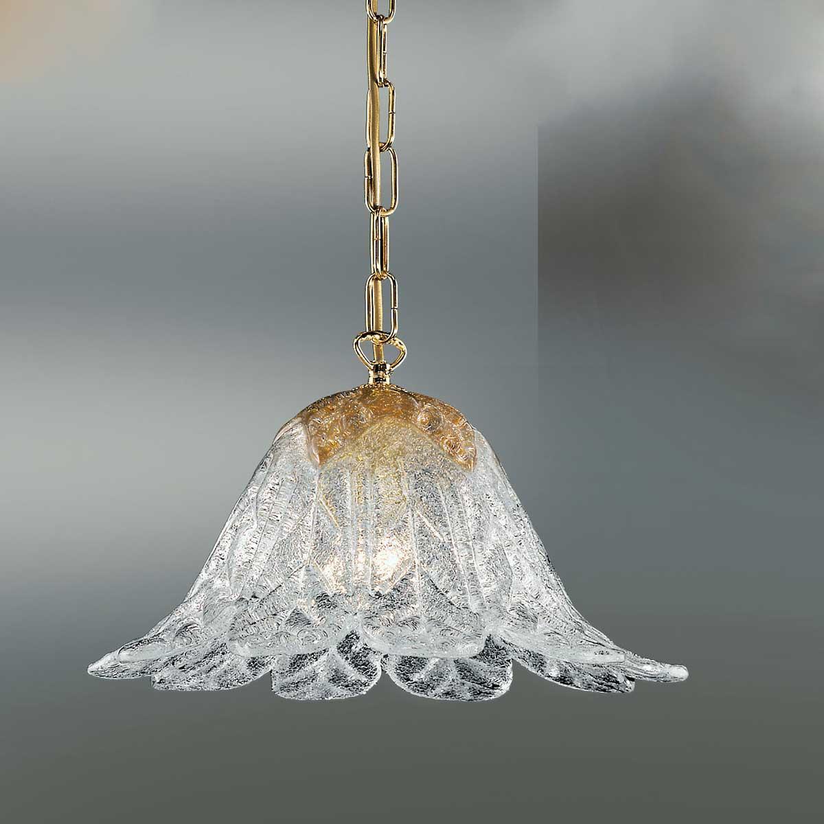 """Animus"" Murano glass pendant light - 1 lights - transparent and amber"