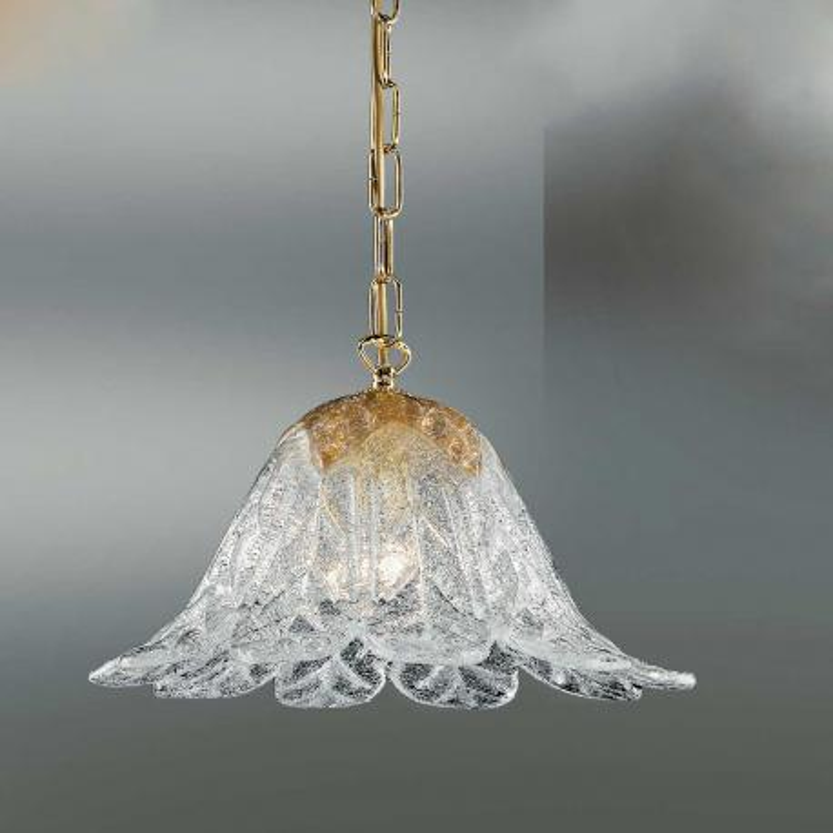 """""""Animus"""" suspension en verre de Murano - 1 lumières - transparent et ambre"""
