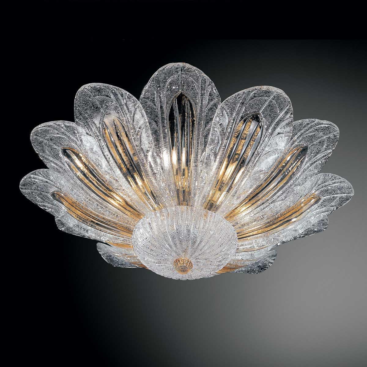 """""""Talita"""" plafonnier en verre de Murano - 6 lumières - transparent et ambre"""