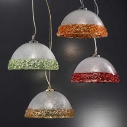 """Phara"" Murano glass pendant light - 1 light -  transparent and color"