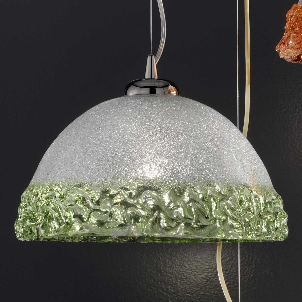 """Phara"" suspension en verre de Murano - 1 lumière -  transparent et vert"