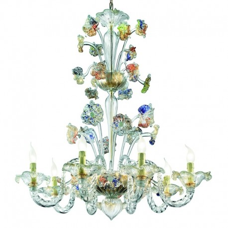 Tiepolo 8 lights Murano chandelier -  transparent gold polychrome color