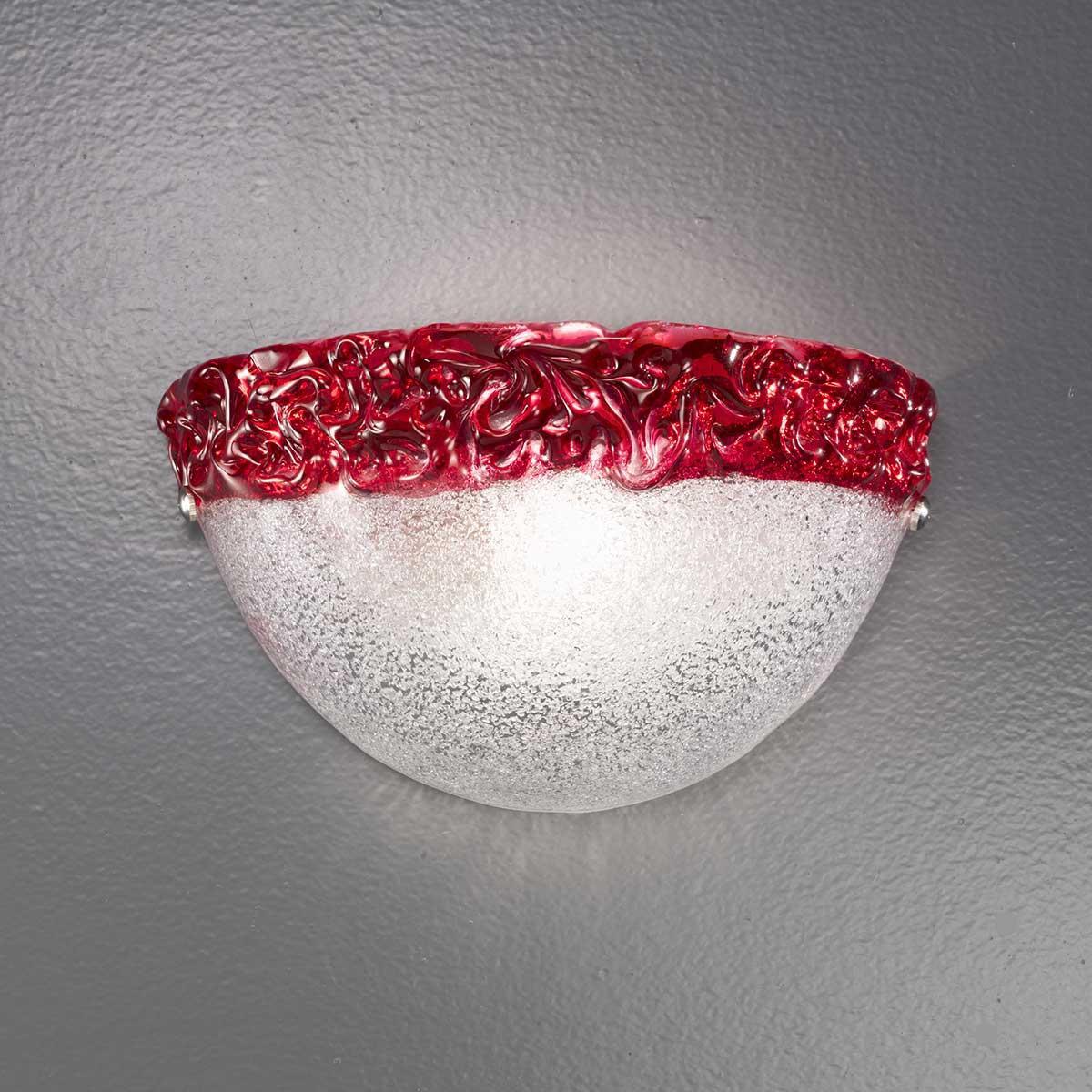 """Phara"" Murano glas wandleuchte - 1 flammig - transparente und rot"