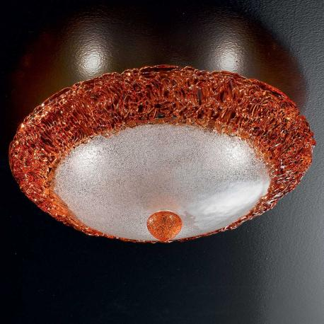 """Dharma"" Murano glass ceiling light  - 3 lights - transparent and orange"