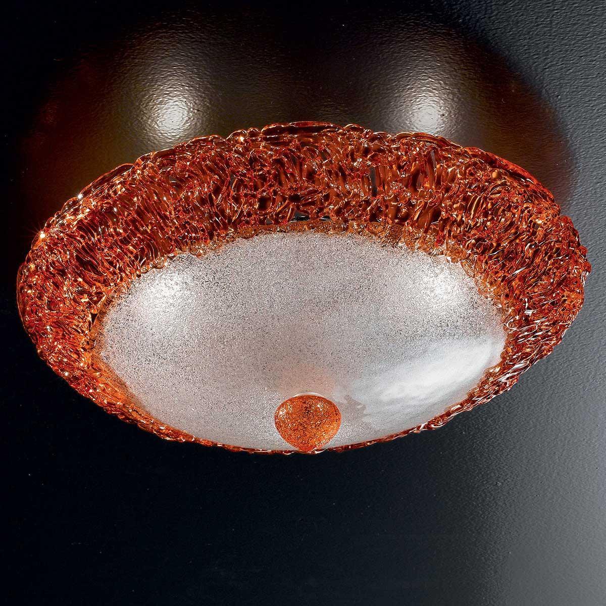 """""""Dharma"""" plafonnier en verre de Murano - 3 lumière - transparent et orange"""