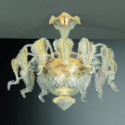 Canal Grande 6 lights Murano ceiling lamp transparent gold color