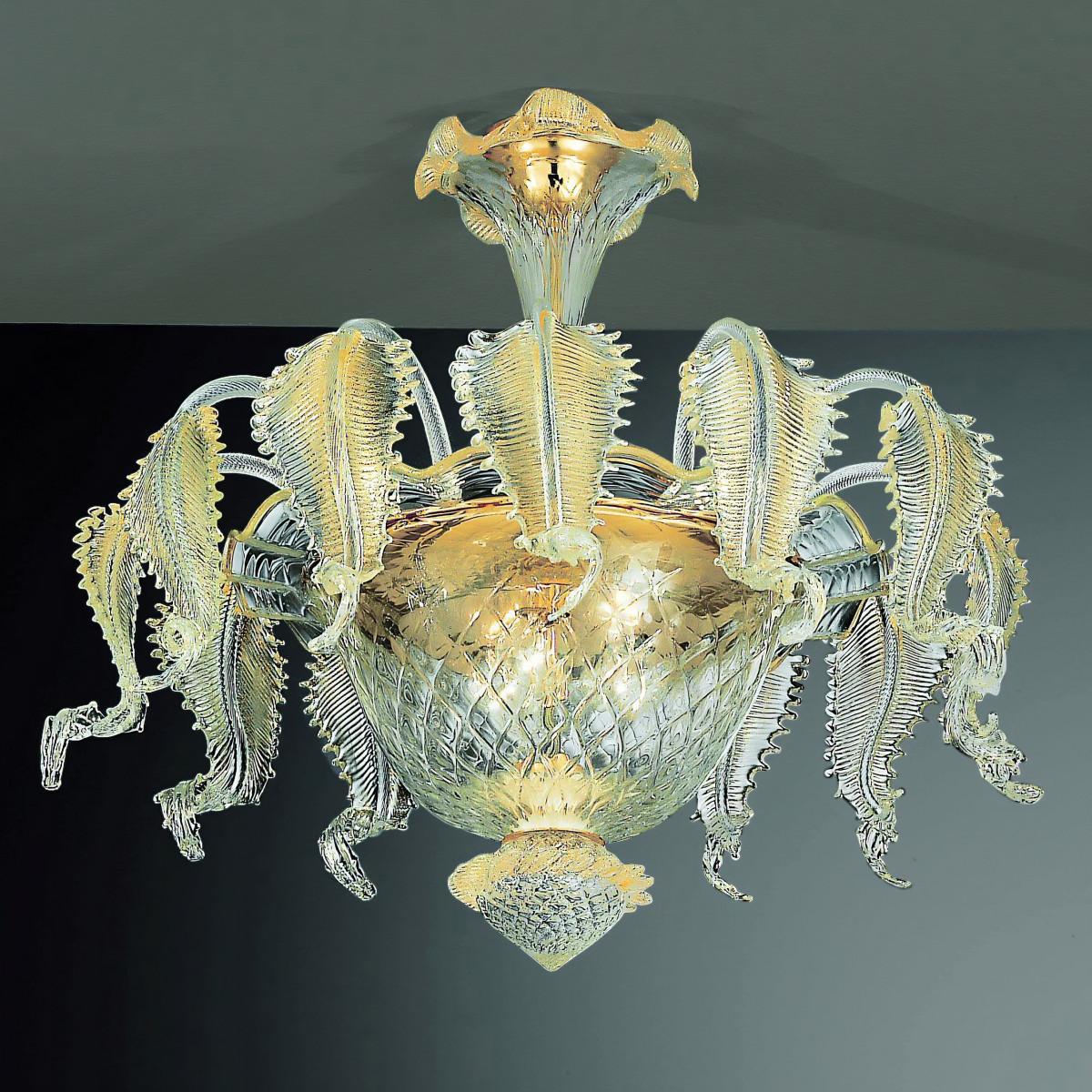 Canal Grande 6 luces lámpara de techo de Murano color oro transparente