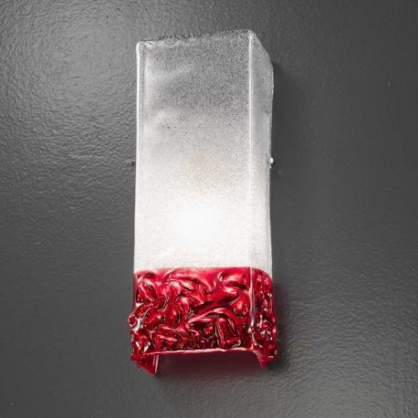 """Helena"" Murano glass sconce - 1 light - transparent and red"