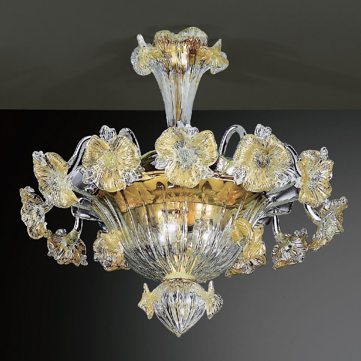 Tiepolo 6 plafonniers Murano lampe d'or couleur transparente