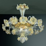 Tiepolo 6 lights Murano ceiling lamp transparent gold color