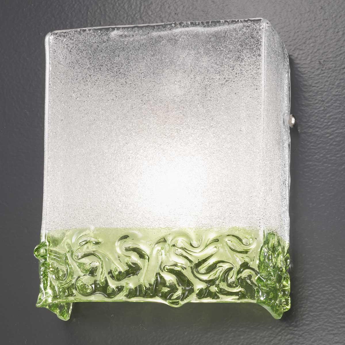 """""""Hailey"""" applique en verre de Murano - 1 lumière - transparent et vert"""