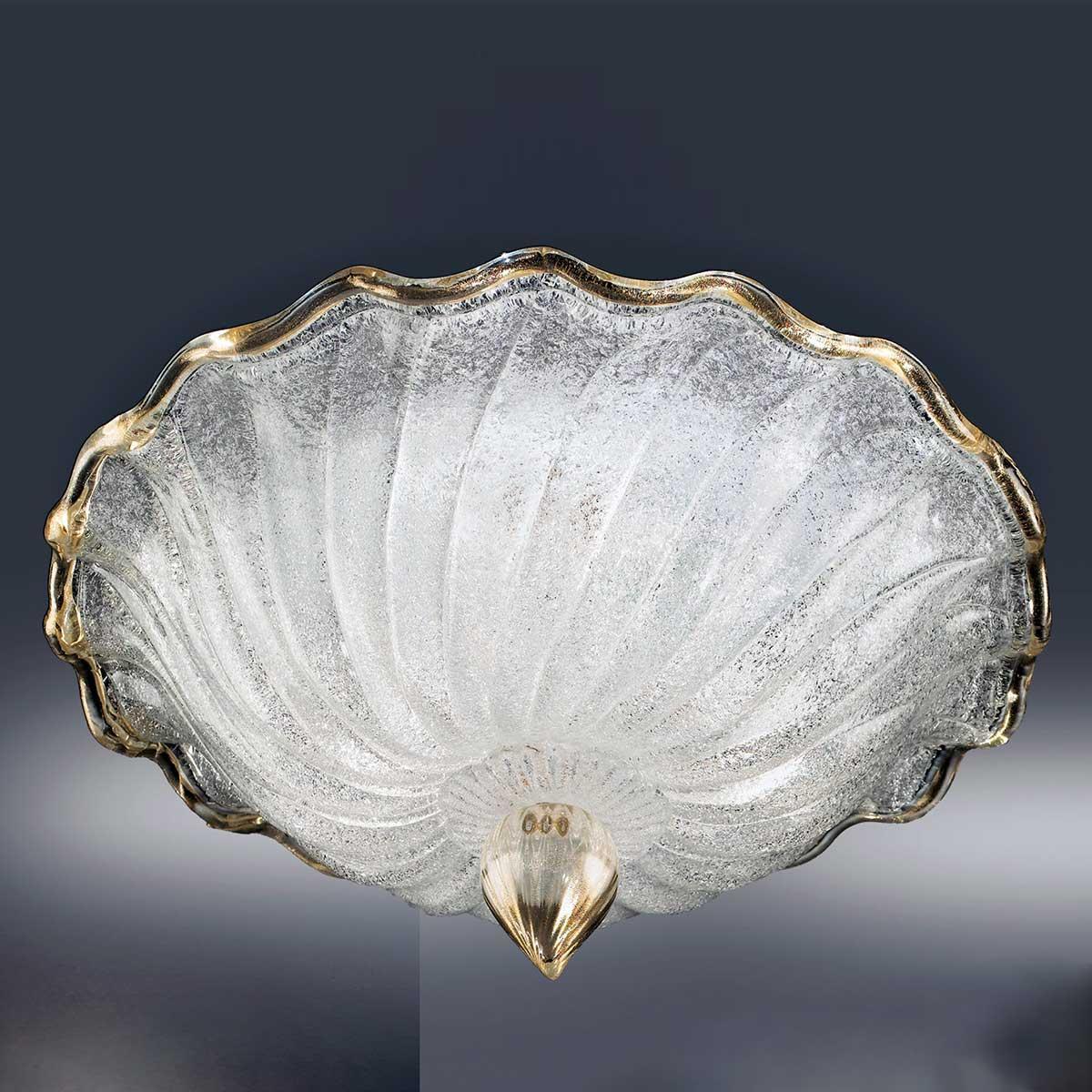 """""""Conchiglia"""" plafonnier en verre de Murano - 3 lumières - transparent et or"""