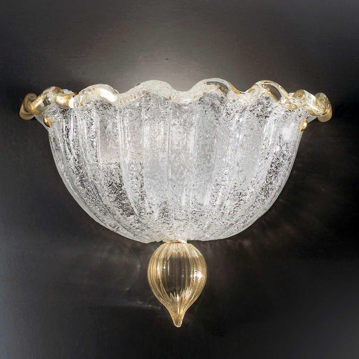 """Conchiglia"" Murano glass sconce - 1 light - transparent and gold"