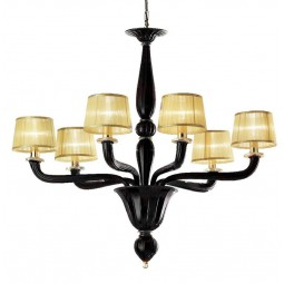 Tiziano 6 lights Murano chandelier black gold color