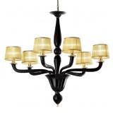 Tiziano 6 lights Murano chandelier - red gold color