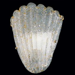"""Evelyne"" Murano glass sconce - 1 light - transparent and amber"