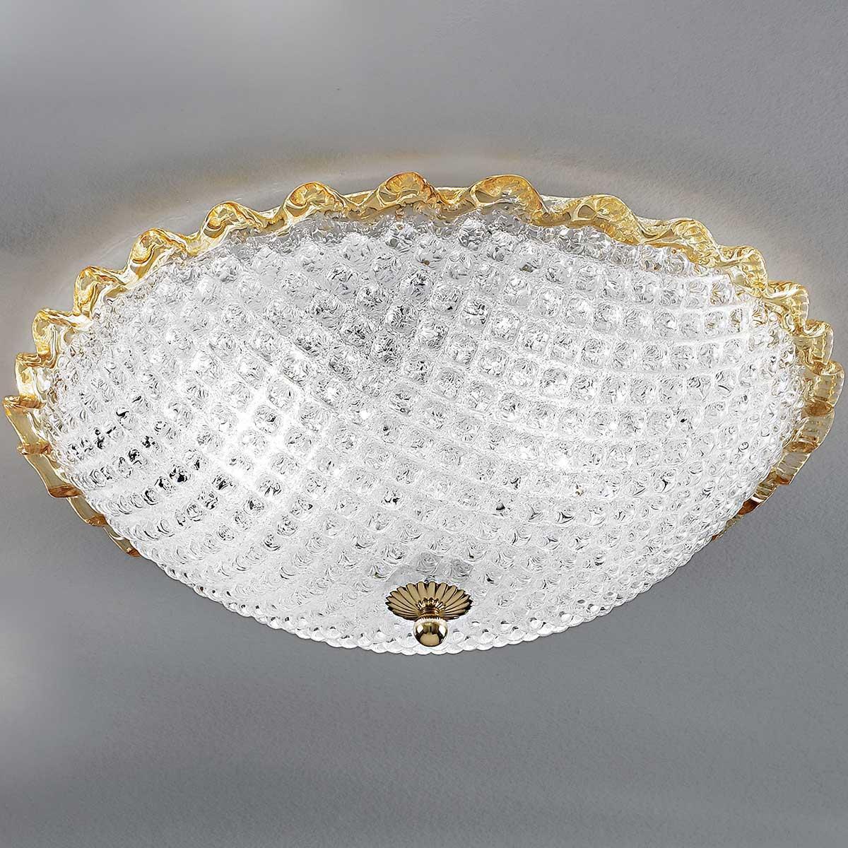 """""""Claudia"""" lampara de techo de Murano - 3 luces - transparente y ámbar"""