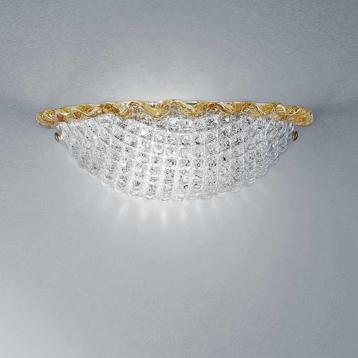 """Claudia"" applique en verre de Murano - 1 lumière - transparent et ambre"