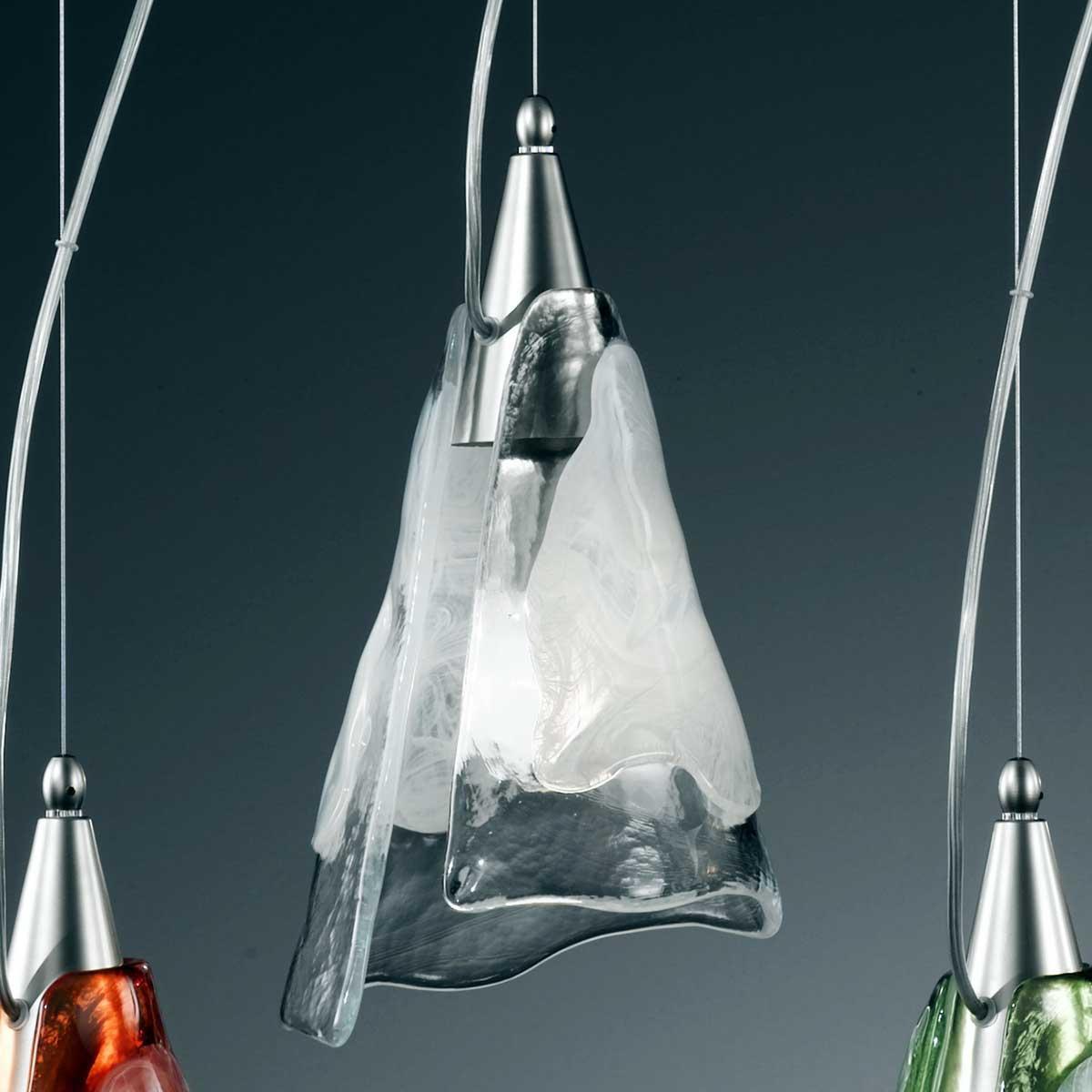 """""""Maristella"""" suspension en verre de Murano - 1 lumière - transparent et blanc"""