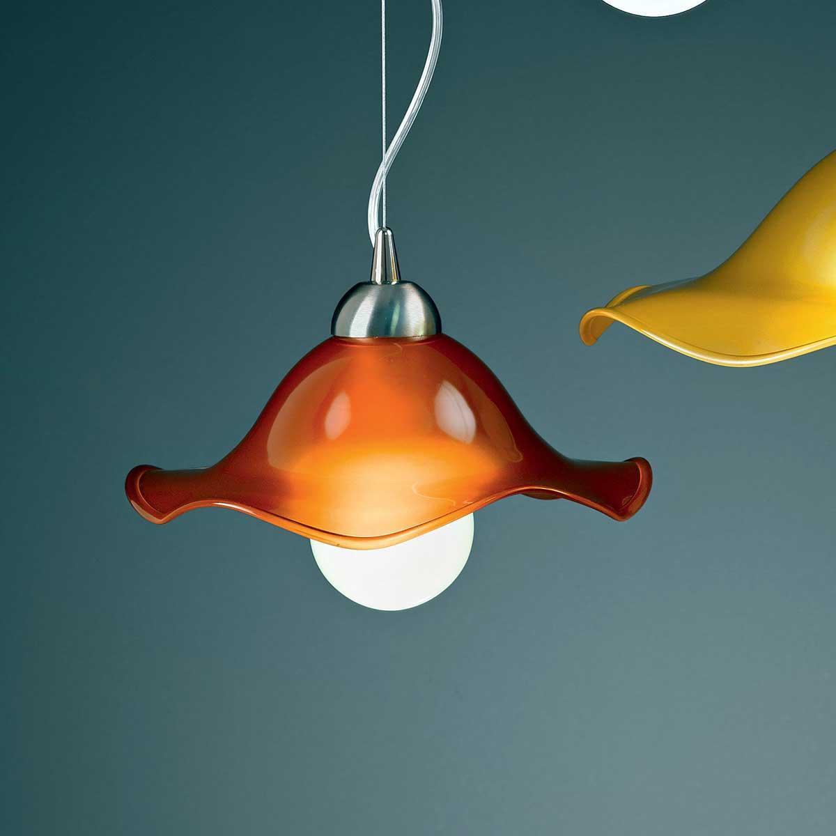 """Mariluna"" lámpara colgante en cristal de Murano - 1 luce - naranja"