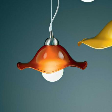 """Mariluna"" Murano glass pendant light  - 1 light - orange"