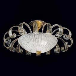 """Ippolita"" Murano glass chandelier - 3 lights - transparent and gold"