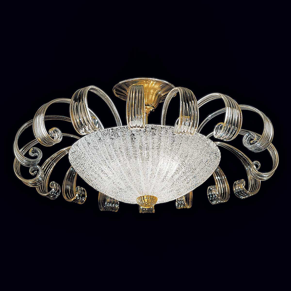 """""""Ippolita"""" lampara de techo de Murano - 3 luces - transparente y oro"""