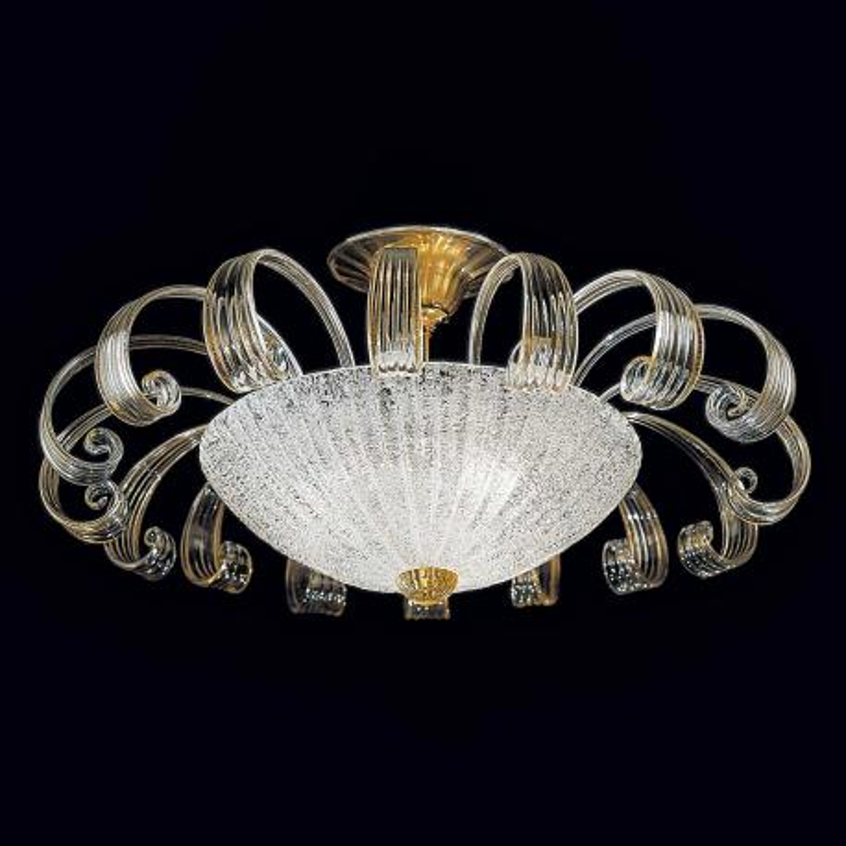 """Ippolita"" Murano ceiling light - 3 lights - transparent and gold"