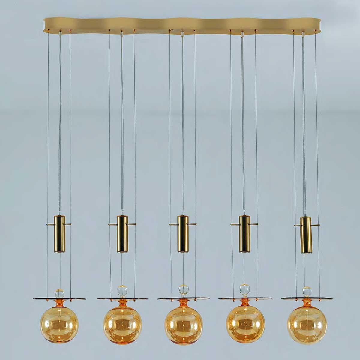 """Pendulum"" lámpara colgante en cristal de Murano - 5 luces - ámbar"