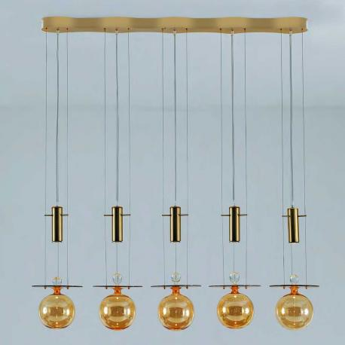 """Pendulum"" suspension en verre de Murano - 5 lumières - ambre"