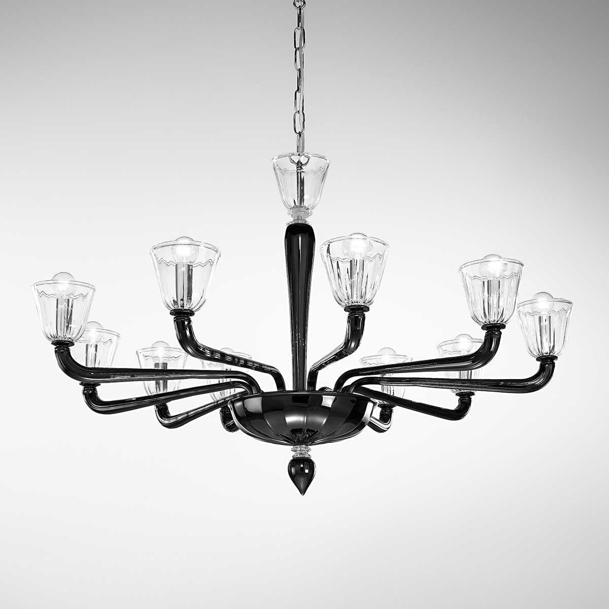 """""""Astice"""" lustre en cristal de Murano - 10 lumières - noir et transparent"""