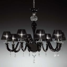 """Despota"" Murano glass chandelier - 8 lights - black and transparent"