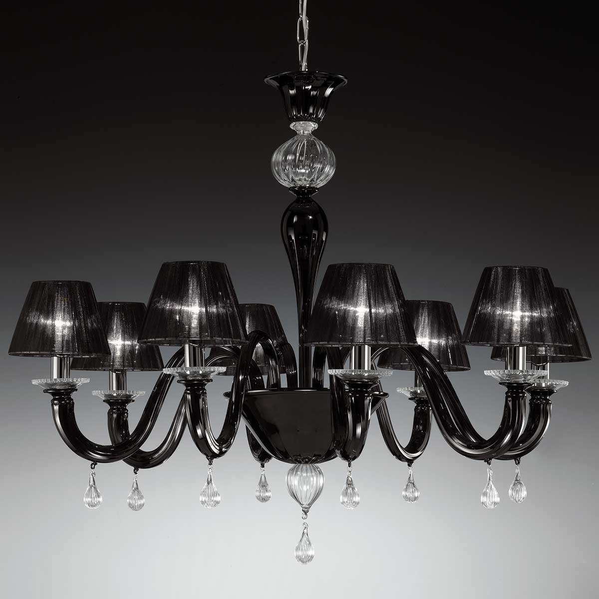 """""""Despota"""" lampara de araña de Murano - 8 luces - negro y transparente"""