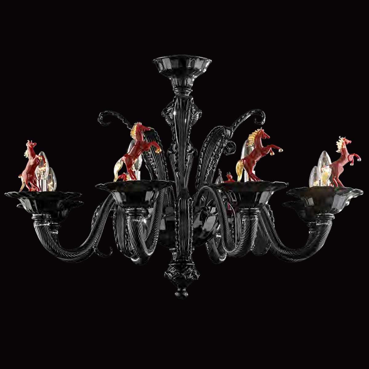 """""""Cavallino"""" lampara de araña de Murano - 8 luces - negro y rojo"""