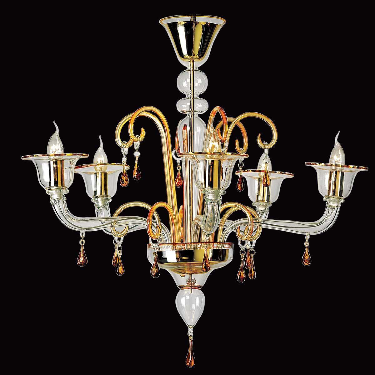 """""""Alcesti"""" lustre en cristal de Murano - 5 lumières - transparent et ambre"""