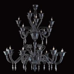 """Nito"" Murano glass chandelier - 12+4+4+4 lights - black and silver"