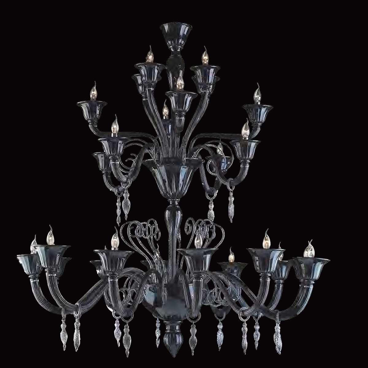 """Nito"" lampara de araña de Murano - 12+4+4+4 luces - negro y plata"