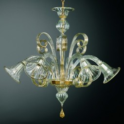 Venezia 6 lights Murano chandelier transparent gold color