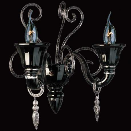 """Nito"" Murano glass sconce - 2 lights - black and silver"
